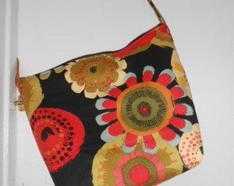 Handmade Mod Flower print, over the shoulder purse, or diaper bag