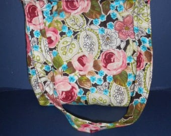 "Handmade Flowered Print Purse,  over the shoulder purse, 9"" by 11"""