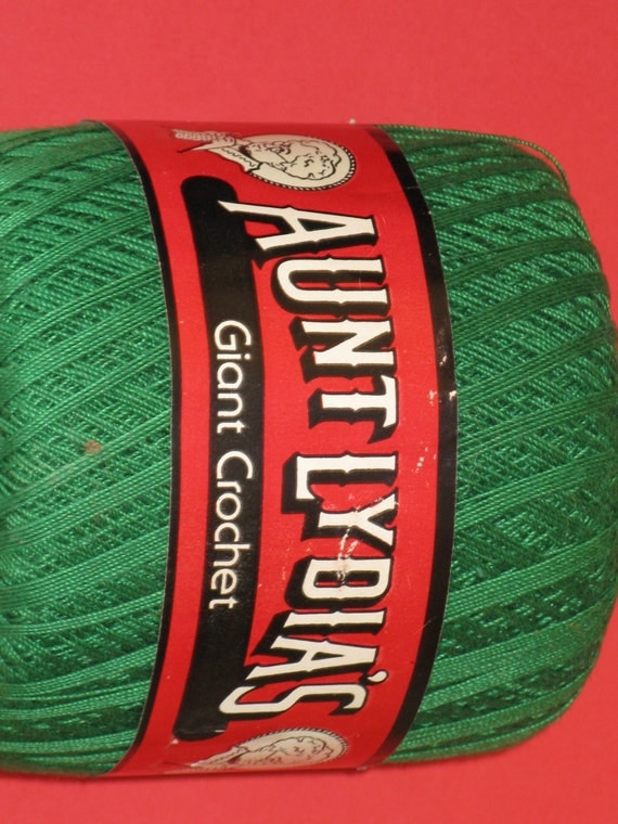 Vintage Crochet Thread Mercerized Cotton Giant Green Color - 400 Yards Skein Crochet and Knit - Aunt Lydia's