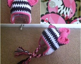 Crochet Zebra Beanie/Hat