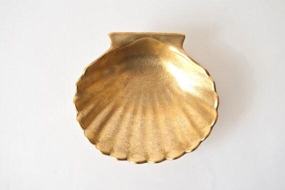 Trinket Dish Gold Shell Pickard China Rose and Daisy Pattern
