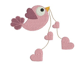 Instant download bird heart embroidery design download