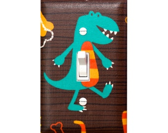 Dinosaur Light Switch Plate Cover / Baby Boy Nursery / T-Rex Tyrannosaurus / Dino Dudes by Michael Miller / Brown, Teal, Turquoise, Orange
