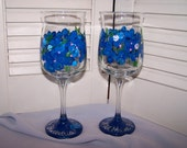 Wild Maine Blueberry hand painted glass