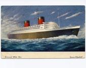 Vintage 1950s Postcard Cunard White Star Queen Elizabeth Cruise Ship Postcard 1950 Paper Ephemera