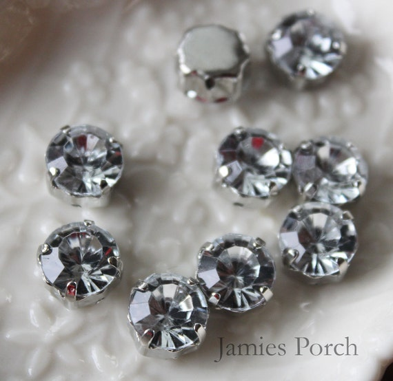 30pcs 8mm Nickel Free Faceted Round Cut Acrylic Crystal With Rhodium Plated Metal cap for Jewelry, accessory and clothing