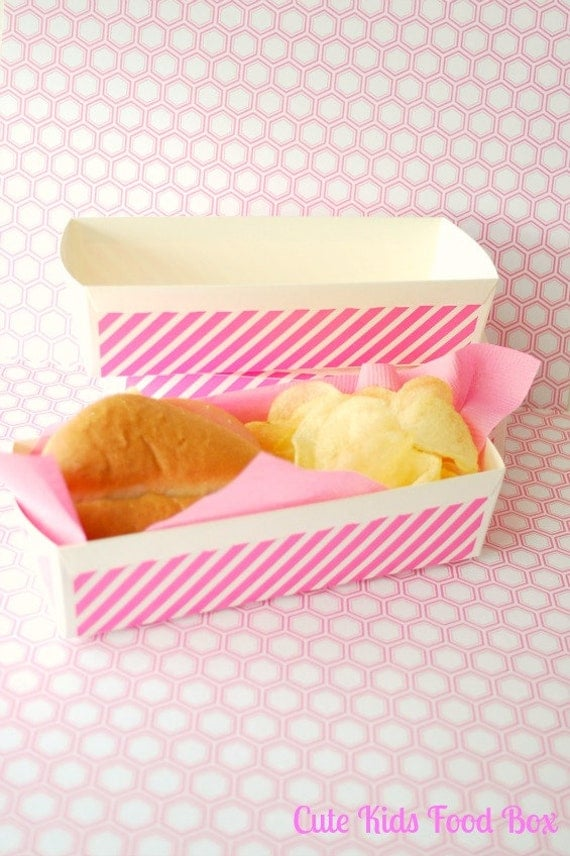 Pink Striped Food Tray Set Of 8 Paper Food Tray Paper