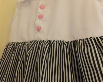 1980's Inspired Striped Peter Pan Collar Dress with Pink Heart Buttons