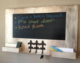 Rough Around the Edges Chalkboard Mail Organizer with Fleur de lis Hooks