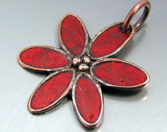 Red Flower Enamel Pendant, Enameled Copper Jewelry,