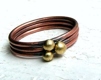 Copper Stacking Ring Set with Brass Balls