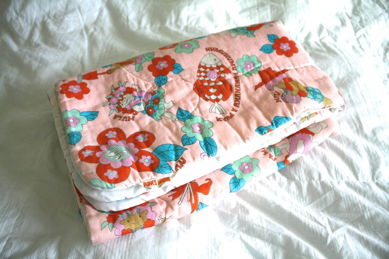 Vintage Hawaiian Print Baby Quilt Blanket By 1sweetdreamvintage