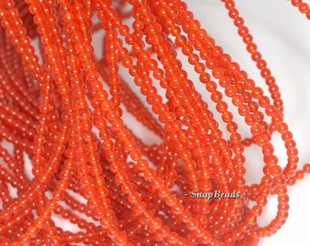 3mm Carnelian Orange Red Agate Gemstone Orange Red Round 3mm Loose Beads 16 inch Full Strand (90113396A-170-E)