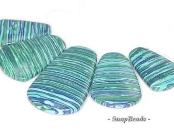 Matrix Turquoise Gemstone Zebra Blue Loose Beads Graduated Set 5 Beads (90114104-108)