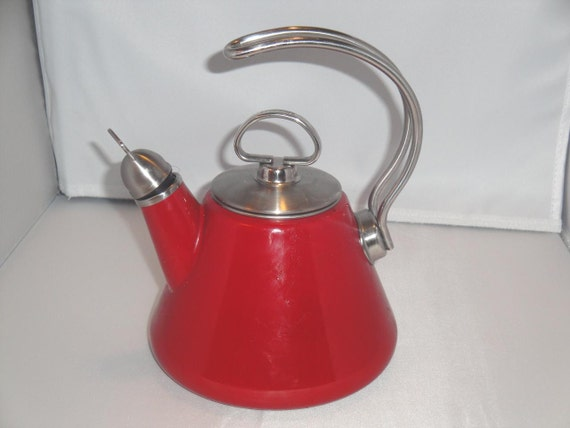 Chantal classic red enamel on steel 1 3 qt teapot tea kettle - Chantal teapots ...
