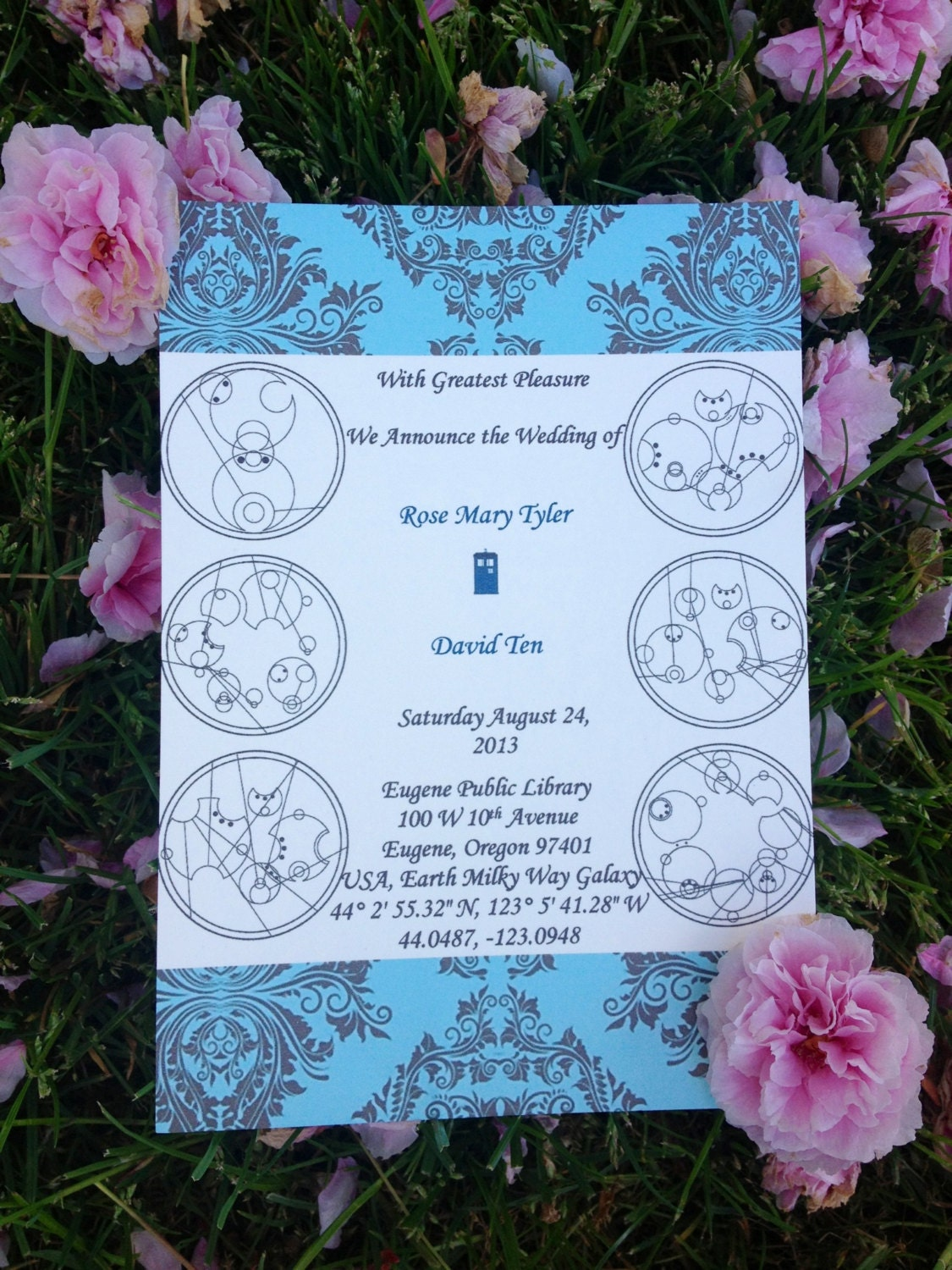 Tardis doctor who theme wedding invitation vows in gallifreyan for Doctor who themed wedding dresses