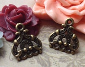13 x 14 mm Antiqued Bronze (Two-Sided) 1 - 3 Holes Thick Filigree Connectors (.tg)