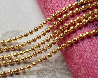 2 Meters of 1.5 mm Golden Plated Ball Chain (t.m)