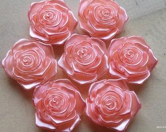 17 mm Shiny Pink Acrylic Resin Rose Cabochons(.tt)
