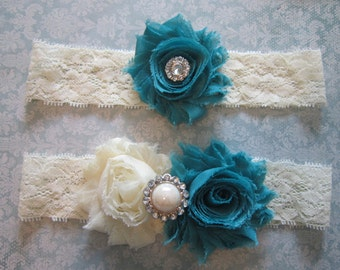 Teal & Ivory Wedding Garter Set - Choose Rhinestone or Pearl