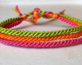 Lime, Pink & Orange Thin Friendship Bracelet
