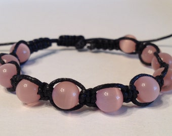 Rose Cat-Eye Beads on Black Waxed Cotton Bracelet