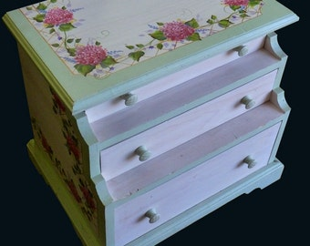 Hand Painted HYDRANGEA LINGERIE CABINET
