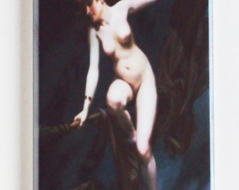 """Halloween """"Naked Witch on a Broom"""" Fridge Magnet (1.5 x 4.5 inches)"""