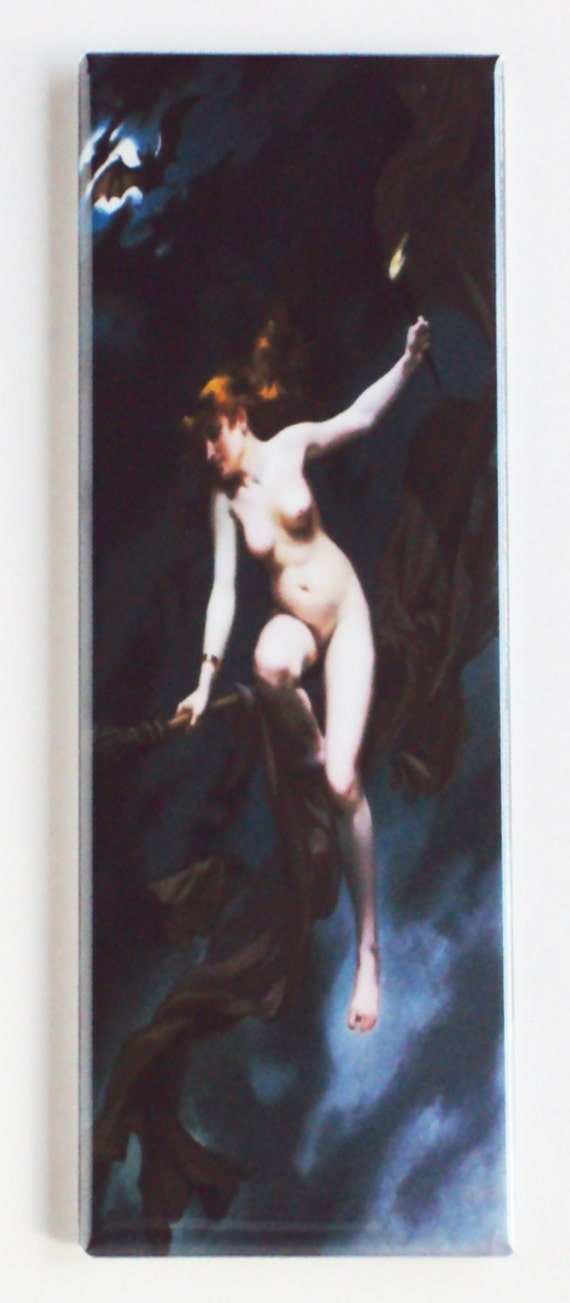 Naked Witch On A Broom Fridge Mag