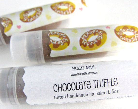 LAST ONE - Chocolate Truffle - Yummy Handmade Chocolate Tinted Lip Balm 0.15 oz by HelloMilk on Etsy