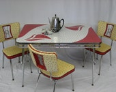 Mid Century Modern, vintage, retro, kitchen set table and chairs Formica and chrome Samton