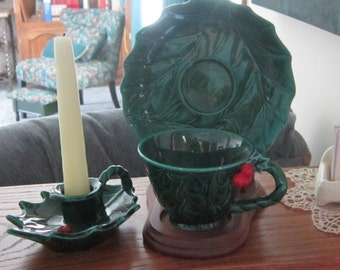 Lefton's 3 piece Christmas Holly Cup Saucer and Candle Holder