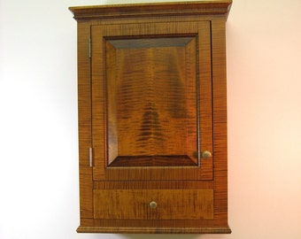 Tiger Maple Spice Cabinet  Wall Cupboard with Drawer
