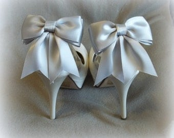 Shoe Clips  Bridal Shoe Clips Satin Bow Shoe Clips Wedding Shoe Clips  Shoe Clips for Wedding Shoes Bridal Shoes MANY COLORS AVAILABLE