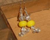 Dangle Yellow Earrings Glass Bead Lampwork Sterling Silver Spring Earrings Sun Earrings