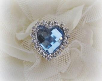 Light Blue Heart Shaped Buttons. QTY: 1 button.