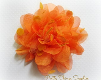 Orange Organza and Tulle Flower. 1 PC. PF1015