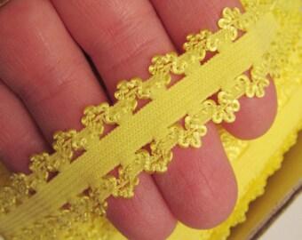 """Yellow Picot Elastic. 7/8"""" Yellow Picot Elastic. 5 Yards.  Ingrid Lace"""