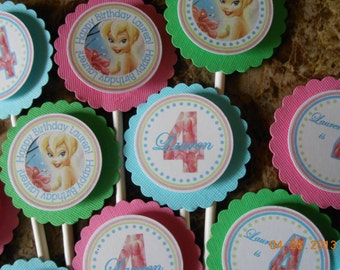 Tinkerbell Cupcake Toppers-Tinkerbell Birthday Cupcake Toppers-Tinkerbell Decoration-Tinkerbell Birthday-Tinkerbell Party-Pink and Aqua