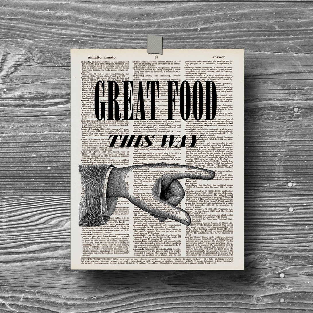 Dictionary Book Page Kitchen Art Print Typography By