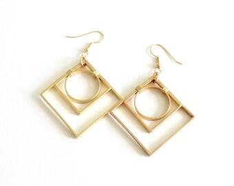 Geometric Earrings Gold Art Deco Pendant Earring Sacred Geometry Jewelry