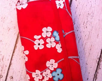 Red, aqua, and pink cherry blossoms iPhone, iPod Touch wallet with removable gel case