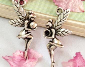 Fairies -20pcs Antique Silver Angel Hold a Ball Charm Pendants 12x26mm AA509-3