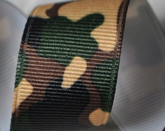 Camoflauge Print Grosgrain Ribbon - 7/8 inches wide - Three, Five, or Ten Yards