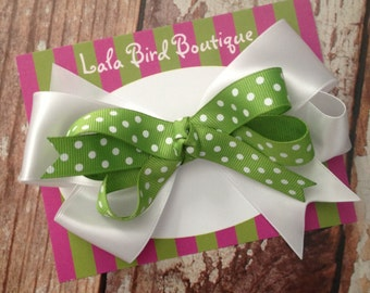 Large Boutique Style Hairbow - Green and White - St. Patrick's Day - READY TO SHIP