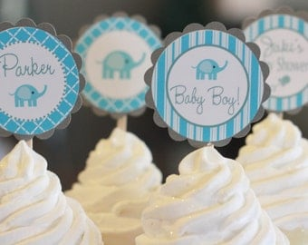 12 Baby Shower Blue & Grey Elephant Cupcake or Cake Toppers - Ask About our Party Pack Sale - CUSTOM - Free Ship Over 65.00