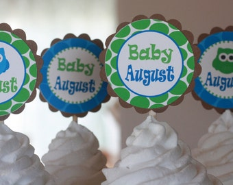 12 Baby Shower Owl Theme Cupcake or Cake Toppers - Choose Blue Green Boy or Pink Green Girl Theme - Free Ship Over 65.00