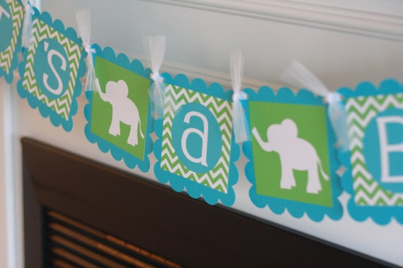 """Baby Shower """"Its a Boy"""" Elephant Jungle Zoo Animal Green Turquoise Blue Chevron Banner - Toppers, Favor Tags & Door Sign Available"""