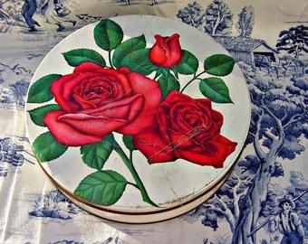 Large Vintage Red Rose Candy Tin Mrs. Stevens Valentines Day