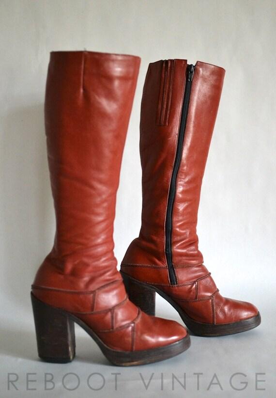 9 Vintage 70s Red Orange Platform Heel Knee High Boots